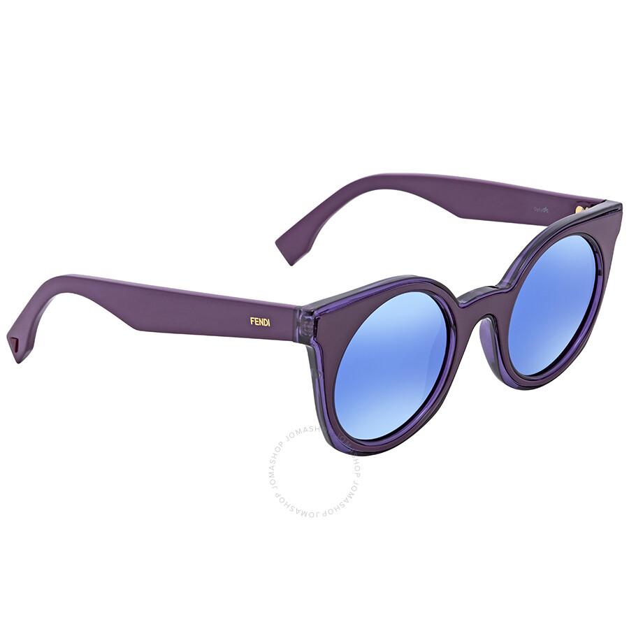 e73ff413717 Fendi Blue Mirror Round Sunglasses FF 0196 S KEO48P6 - Fendi ...