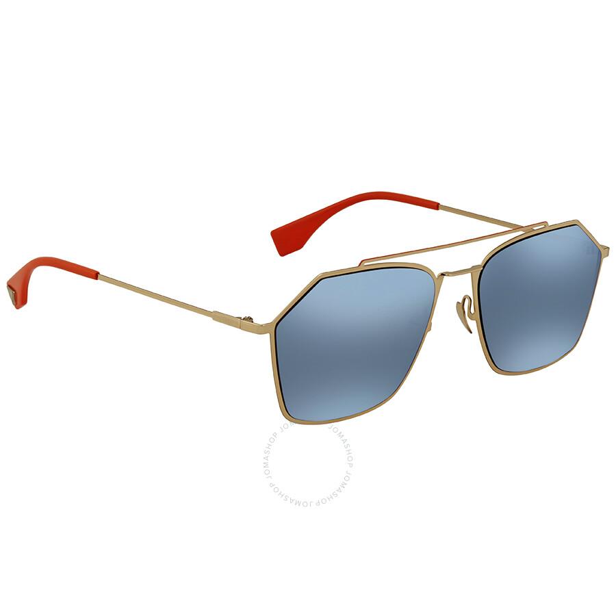 dc27b927fe33 Fendi Eyeline Blue Mirror Rectangular Men s Sunglasses FF M0022 S J5G 2Y 56  ...