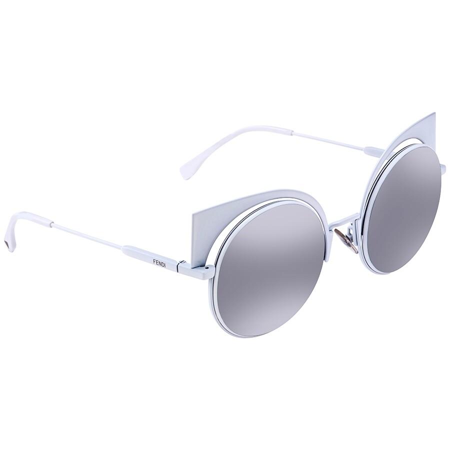 3e91a736bc Fendi Eyeshine Grey Silver Mirror Cat Eye Ladies Sunglasses FF 0177 S  DMV53SS ...