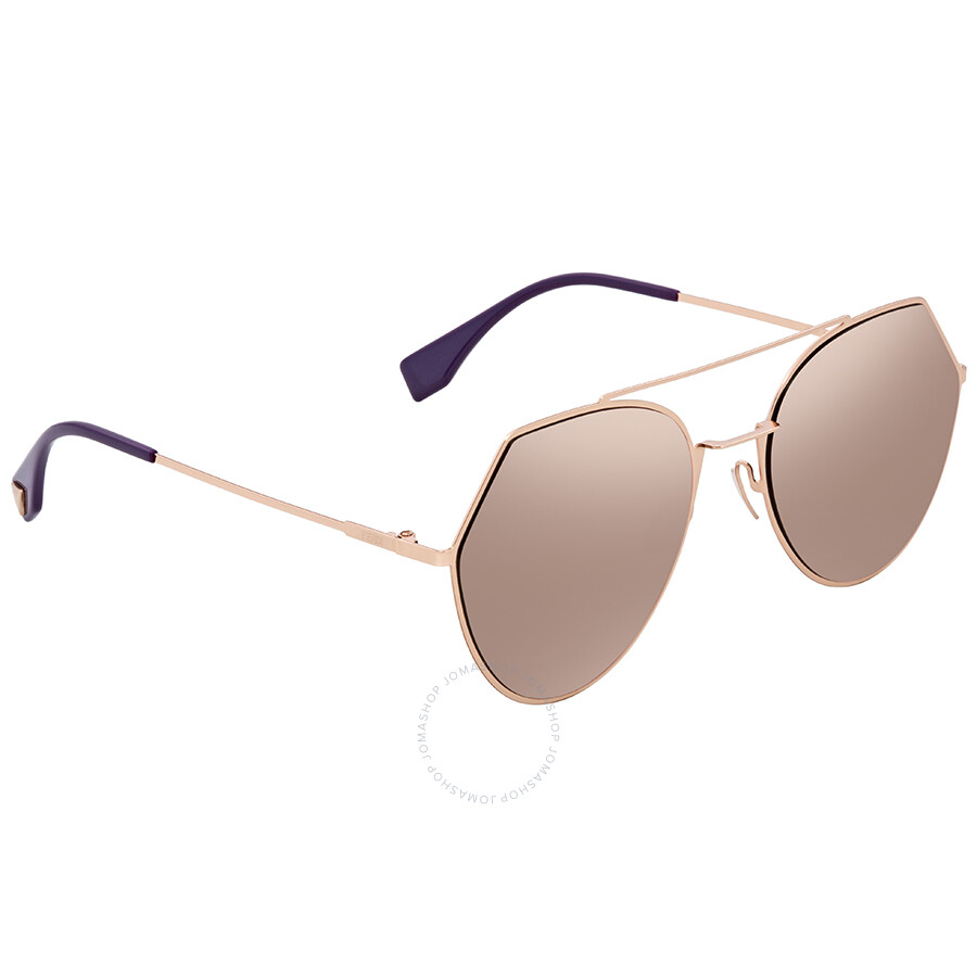 bd7b18a31a858 Fendi Green with Rose Gold Mirror Round Sunglasses FF 0194 S DDB55AP ...