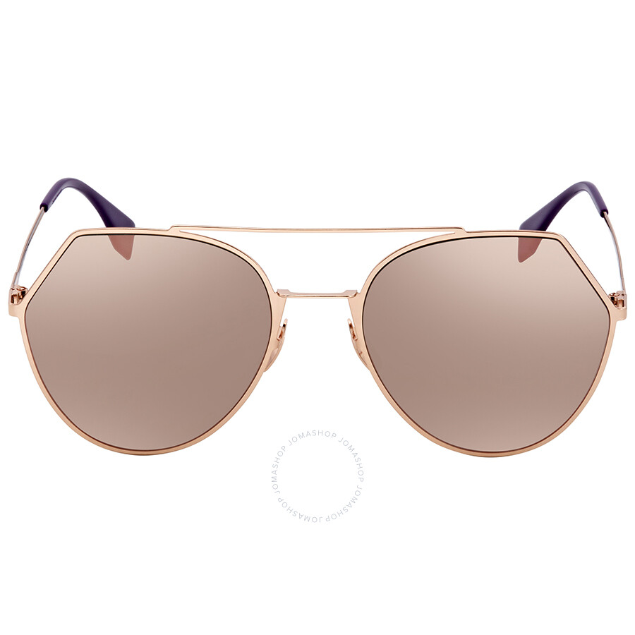 a685564138 ... Fendi Green with Rose Gold Mirror Round Sunglasses FF 0194 S DDB55AP ...