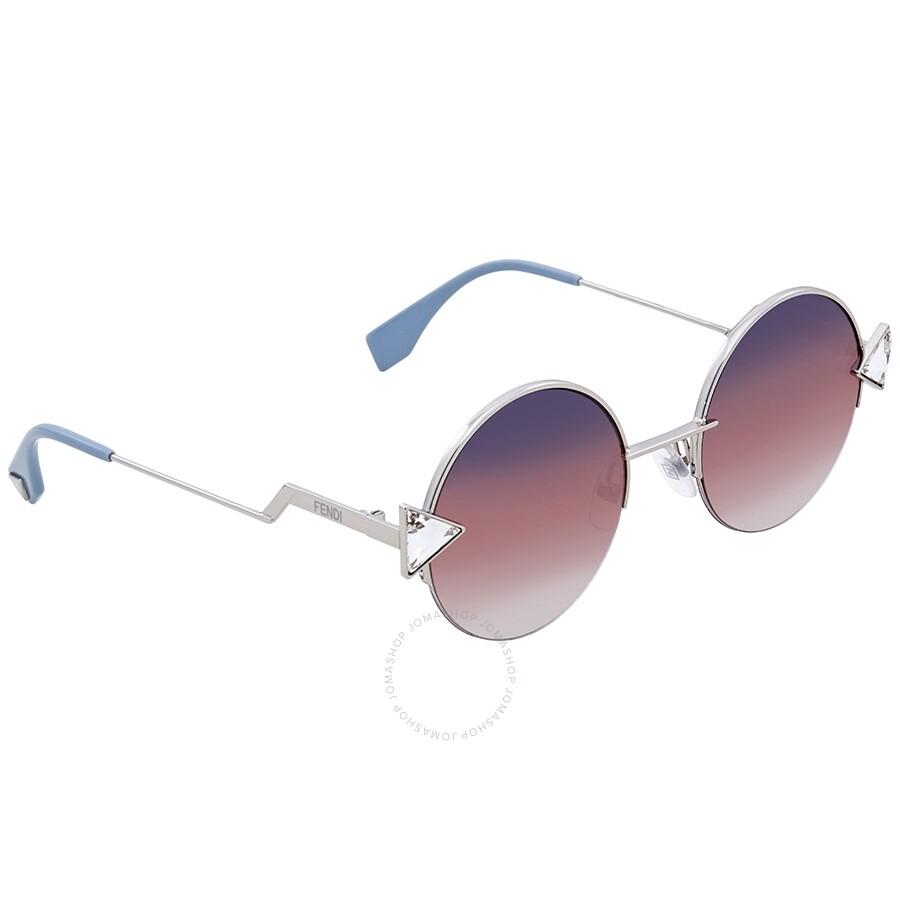 dc6834a084 Fendi Grey-Silver Round Sunglasses FF 0194 S 3YG550T - Fendi ...
