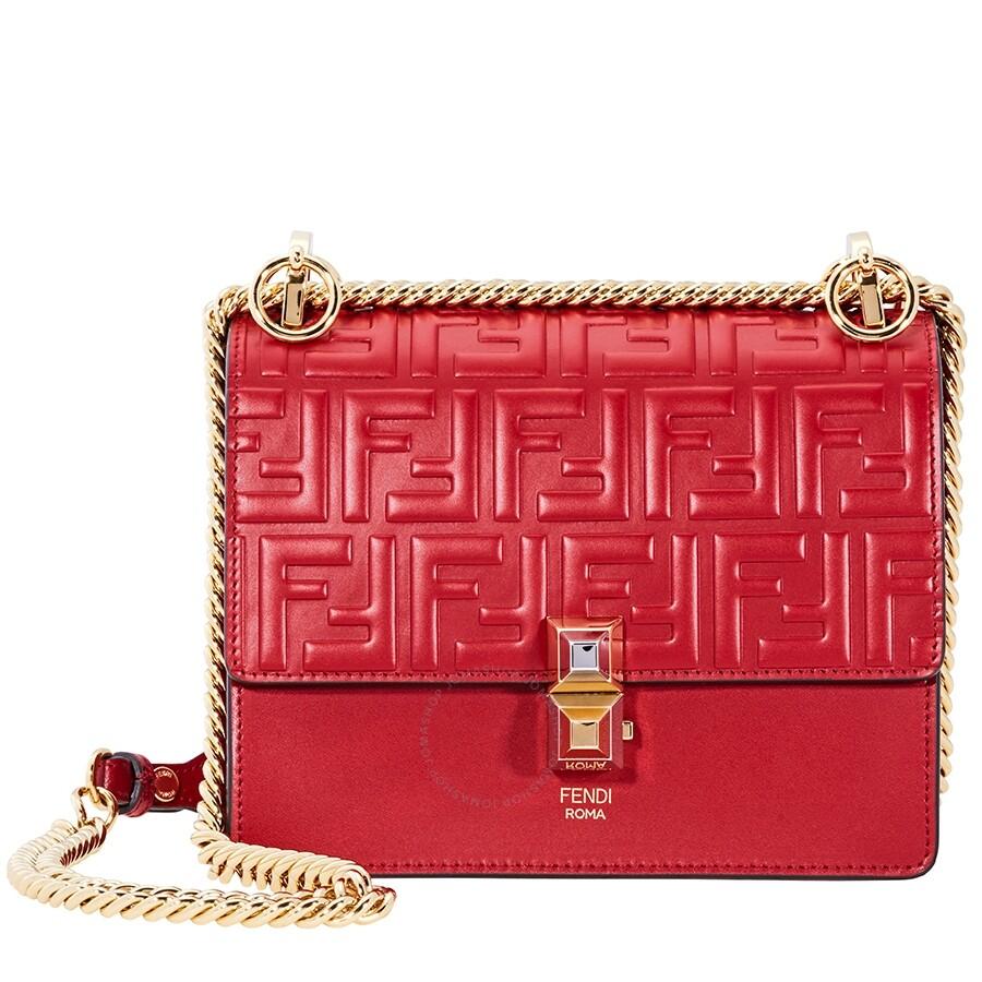 3f7a7dfe81e Fendi Kan I Small Leather Bag- Red - Fendi - Handbags - Jomashop