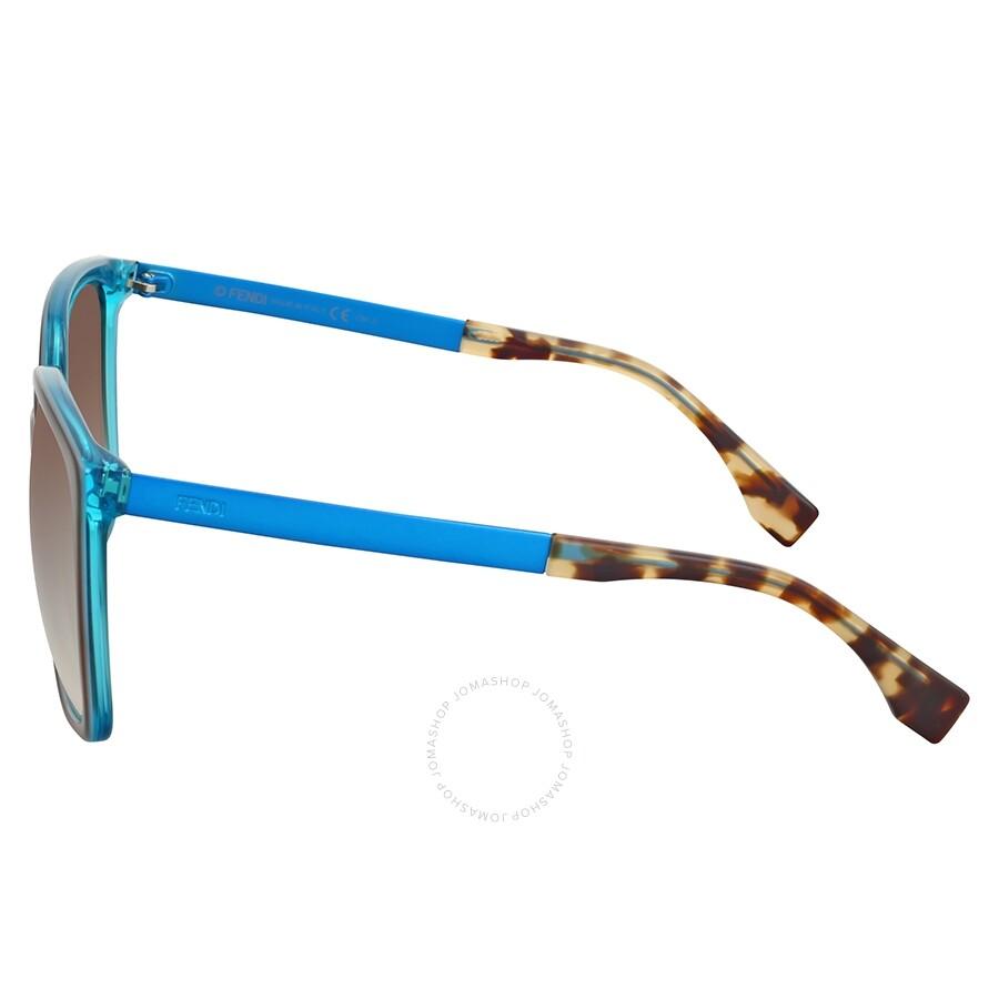 b1e8848948c73 Fendi Logo Oversize Brown Turquoise Sunglasses - Fendi - Sunglasses ...