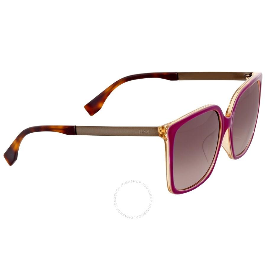 d729e7ceea6f8 Fendi Logo Oversize Mauve Shaded Asia Fit Sunglasses Item No. FF 0076 F S  DXV XQ