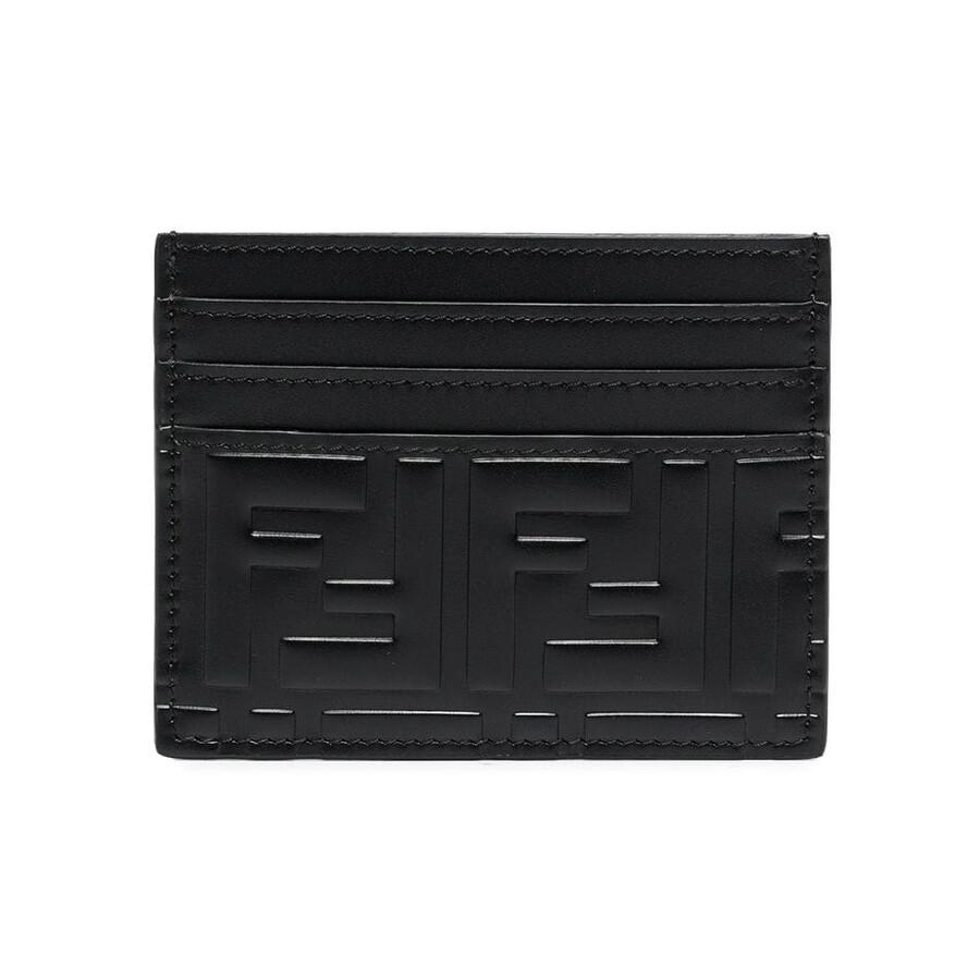 Men's Card Case Ff Black Fd Embossed Cc Wallet by Fendi