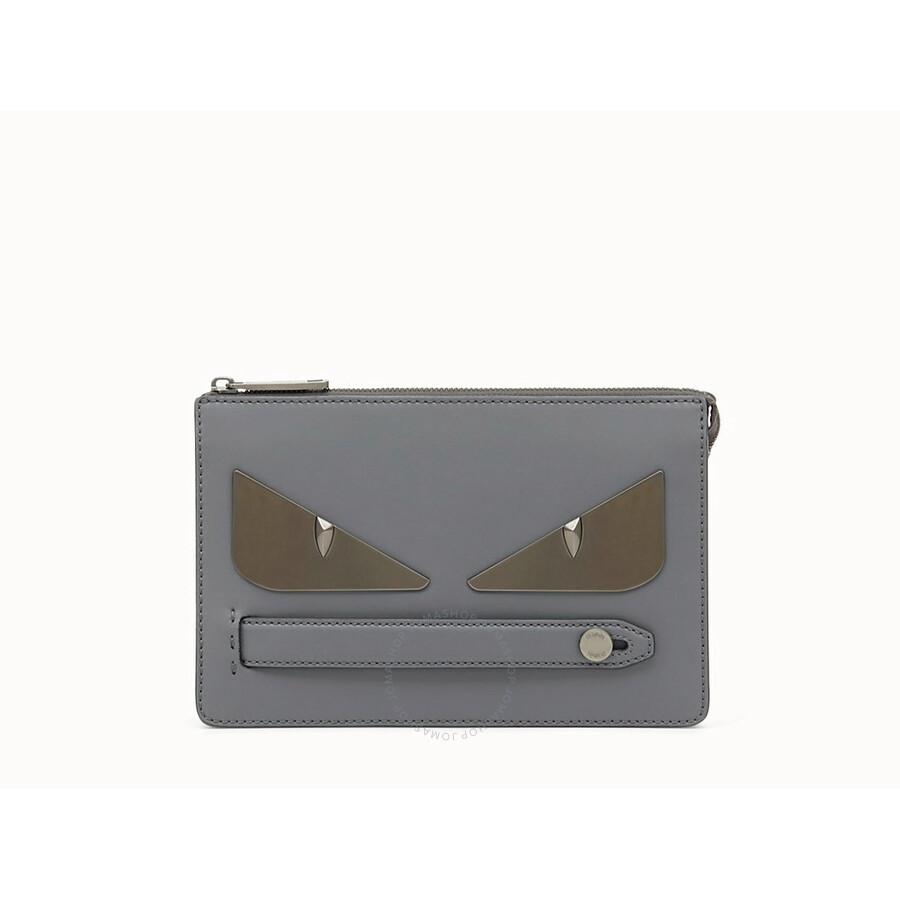 Fendi Men S Clutch Bag Bugs Gray Fd