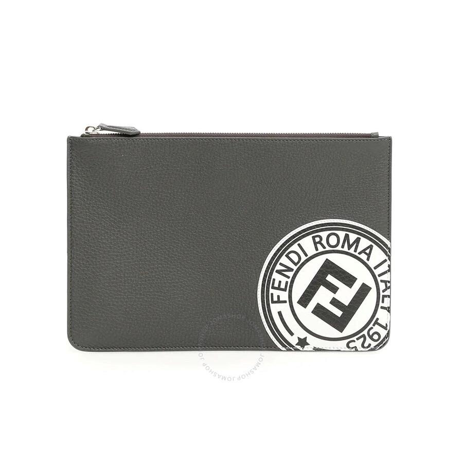 Fendi Men's Leather Pouch in Gray