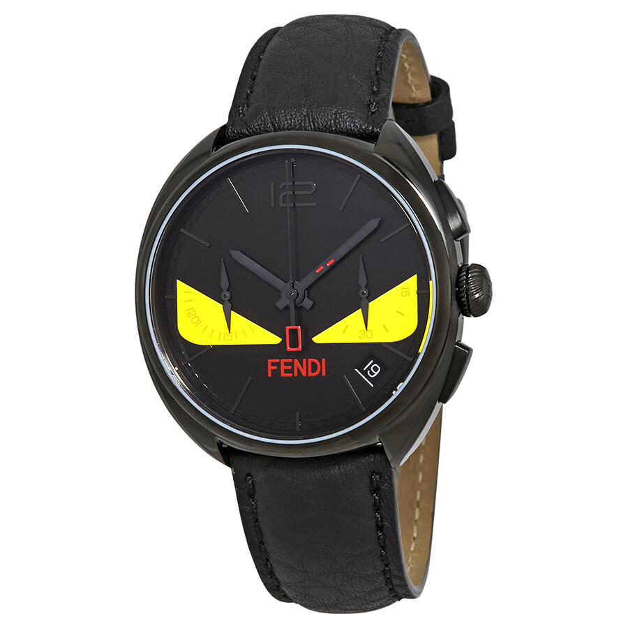 df2c17b36184 Fendi Momento Black with Yellow Bug Eyes Dial Chronograph Men s Watch  F214611511 ...