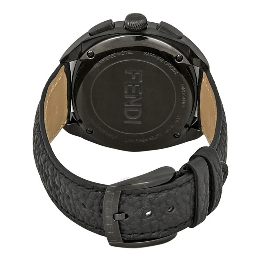 Fendi Momento Black with Yellow Bug Eyes Diamond Dial Chronograph Men's  Watch F214611611D1