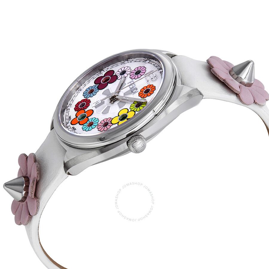cca2877c2b79 ... Fendi Momento Flowerland Silver Dial White Leather Ladies Watch  F234034041 ...