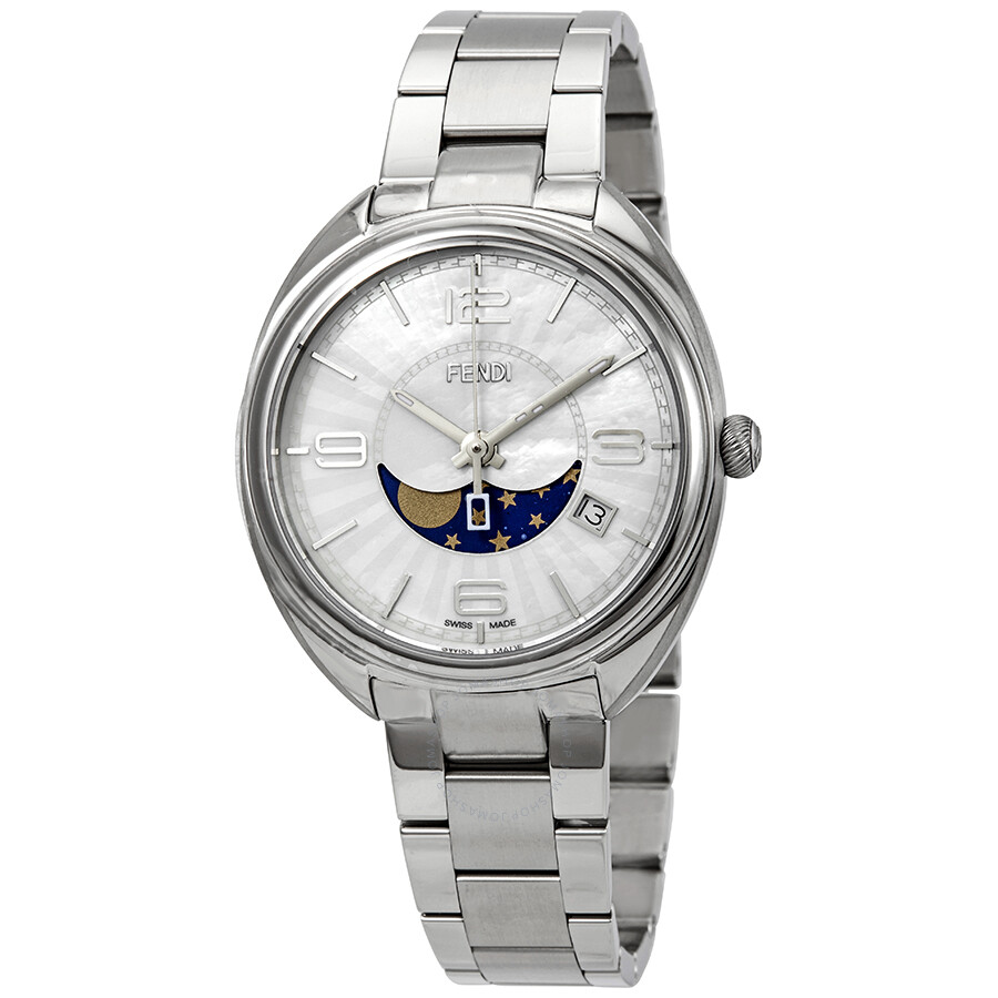 7aac5d30038d Fendi Momento Moonphase Mother of Pearl Dial Ladies Watch F232034500 ...