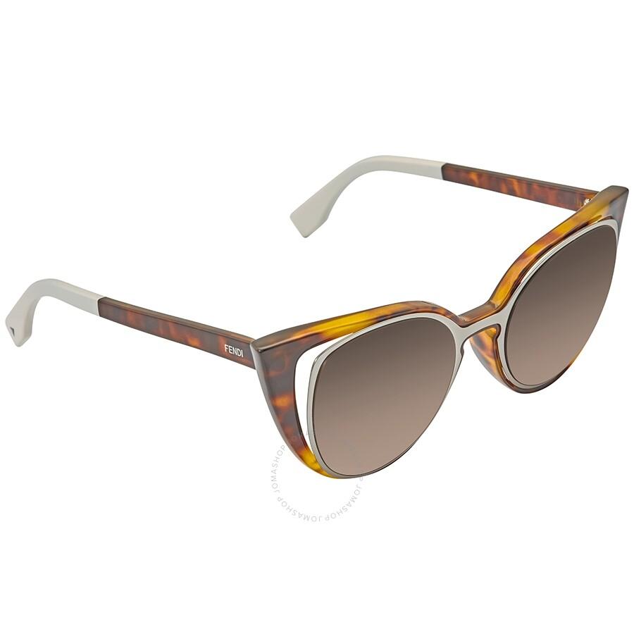 5a4b7ec1 Fendi Paradeyes Brown Gradient Cat Eye Ladies Sunglasses FF 0136/S NY2/J6  -51