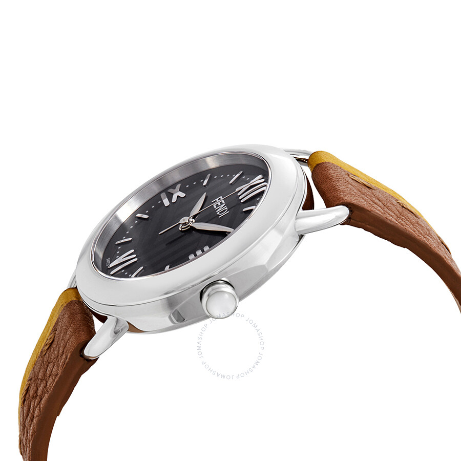 01f3dd7b9dd ... Fendi Selleria Anthracite Sunray Dial Ladies Brown and Yellow Leather  Watch F8020360H0-BRYL ...