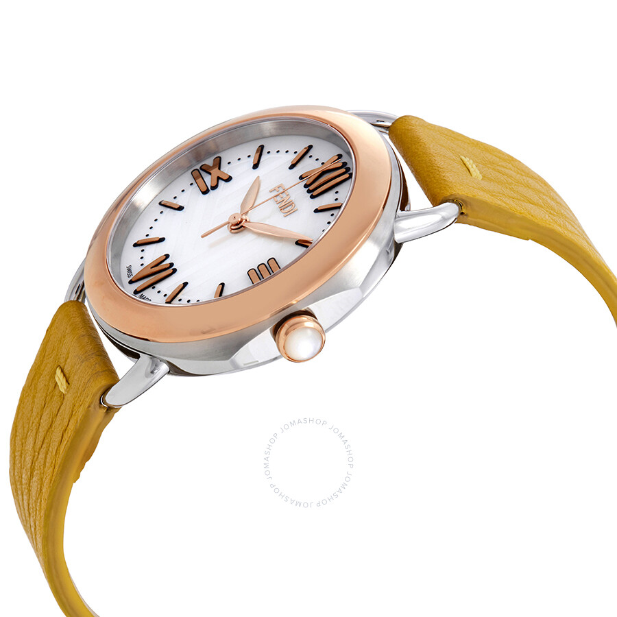 8913a2562e5b ... Fendi Selleria Mother of Pearl Dial Ladies Yellow Leather Watch  F8022345H0-YL ...