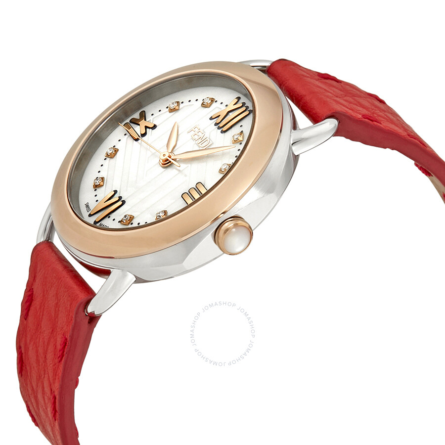 30e04964 Fendi Selleria Mother of Pearl Diamond Dial Ladies Red Leather Watch  F8022345H0D1-RD