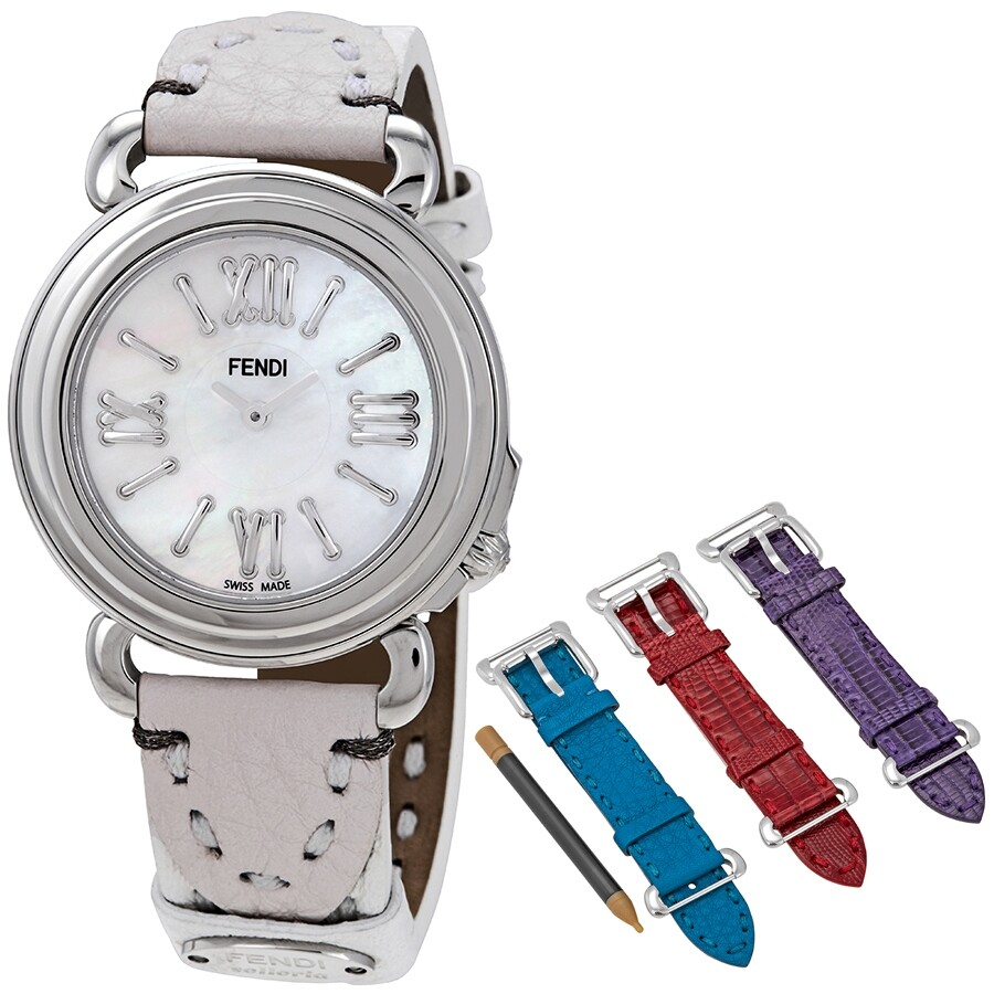 2cd80045 Fendi Selleria White Mother of Pearl Dial Ladies Leather Watch Set  F8010345H0/SET2
