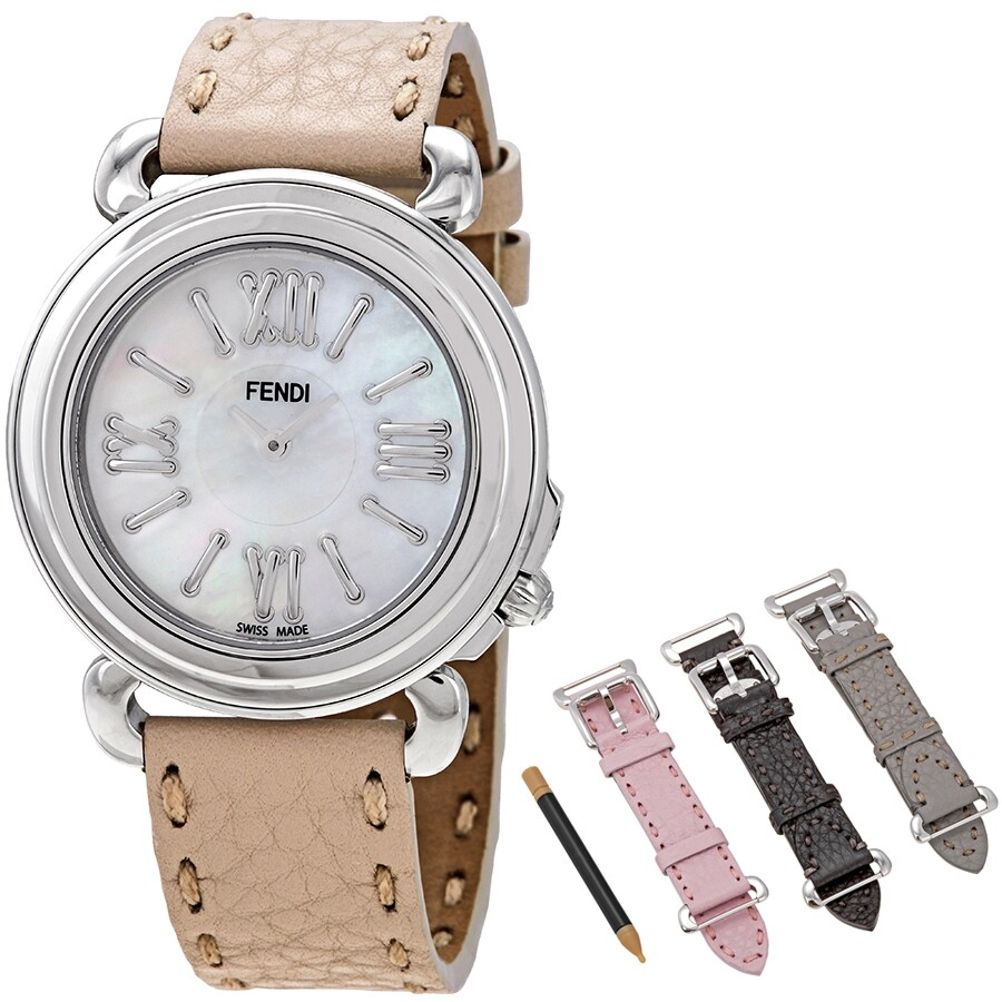 091791b18839 Fendi Selleria White Mother of Pearl Dial Ladies Leather Watch Set  F8010345H0 SET3 ...