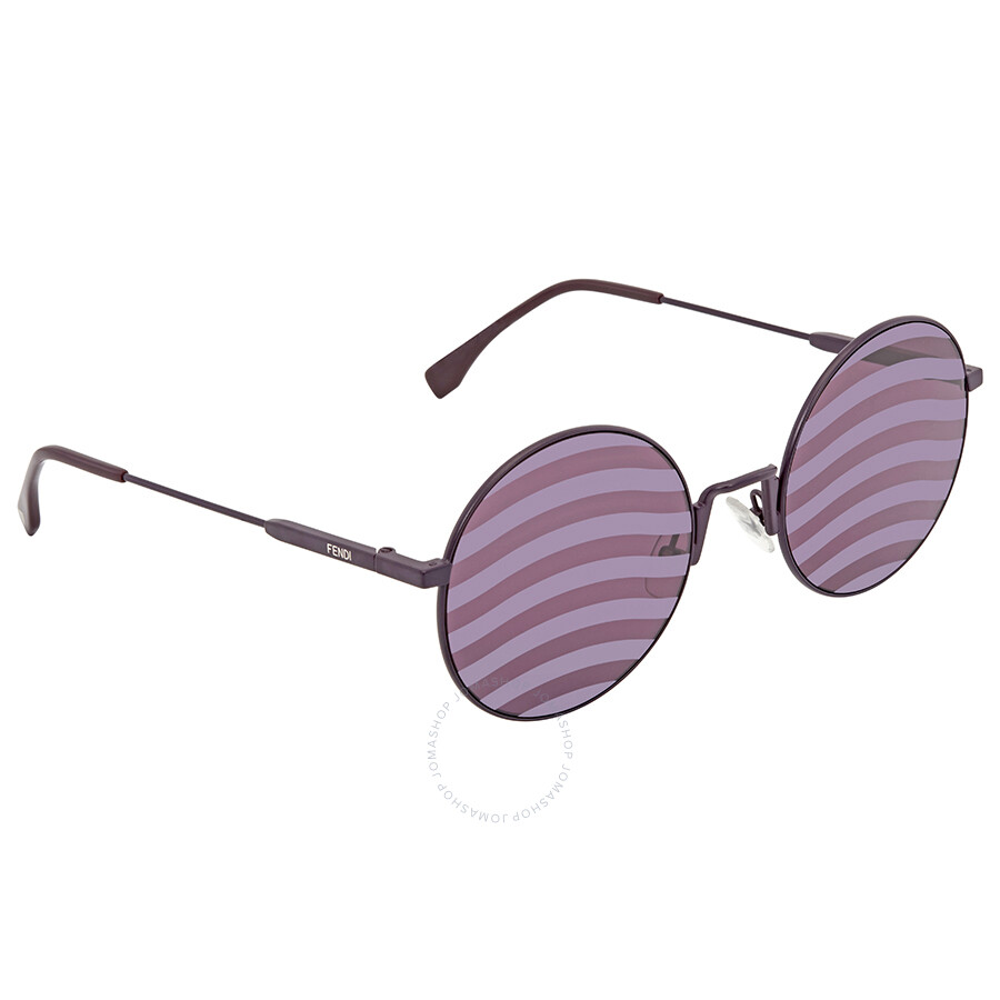 06b38f809823e Fendi Waves Purple Stripes Round Ladies Sunglasses FF 0248 S B3V XL 53 ...