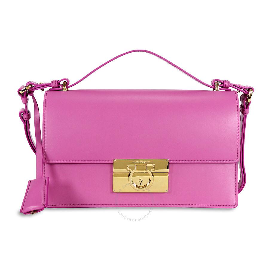 aa1d9835c1d1 Ferragamo Aileen Calfskin Leather Shoulder Bag - Anemone Item No. 21-E099