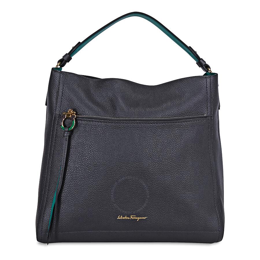 Ferragamo Ally Large Leather Hobo Bag - Fumee   Emeraude Item No. 21-F574FUM 46e56b6745075