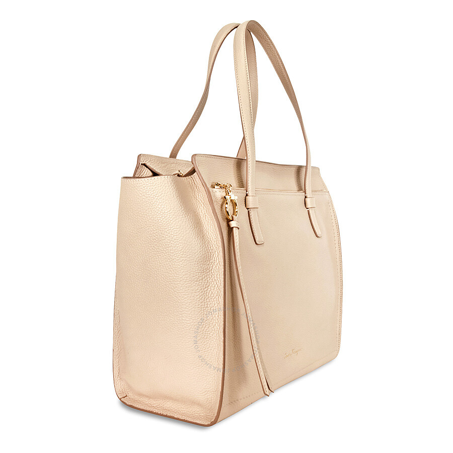f69b2cd9129e Ferragamo Amy Large Leather Tote - Bisque - Salvatore Ferragamo ...