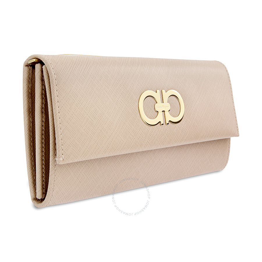 Ferragamo Double Gancio Continental Calfskin Leather Wallet - New Bisque
