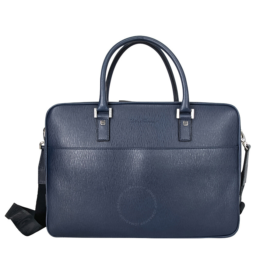 Ferragamo Embossed Calfskin Leather Briefcase - Ultra Marine Item No.  24-9350BL 473643b34d6a0