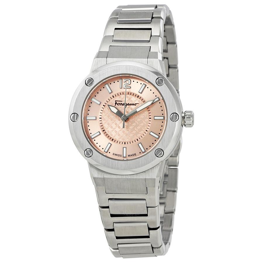 페라가모 F-80 여성 시계 Salvatore Ferragamo F-80 Pink Dial Stainless Steel Ladies Watch FIG030015
