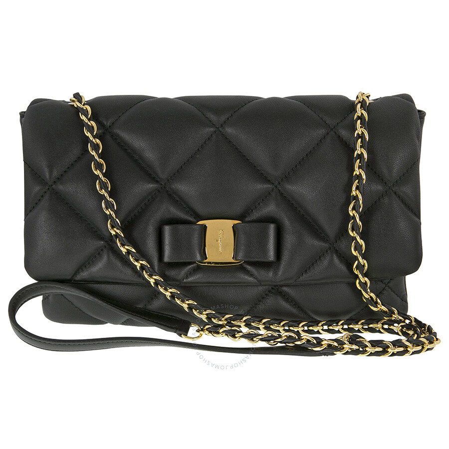 9e9aab30ae Ferragamo Gelly Quilted Leather Shoulder Bag - Black Item No. 21-E767
