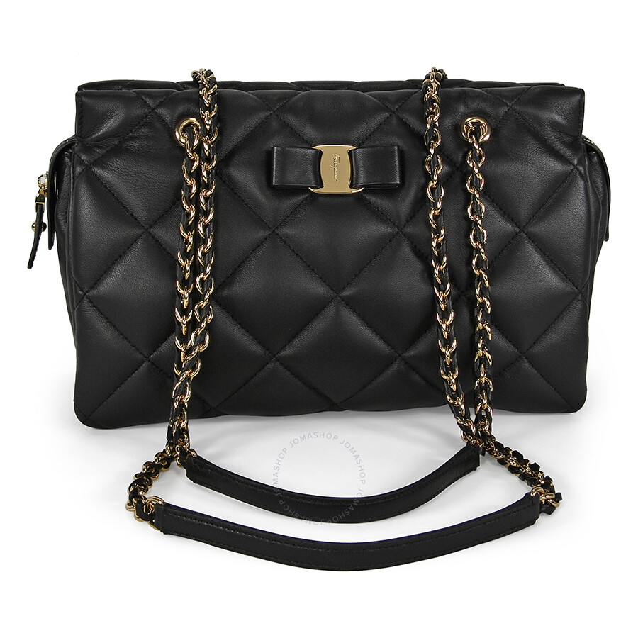 a70cb959d057 Ferragamo Ginette Quilted Leather Handbag - Black Item No. 21-E743