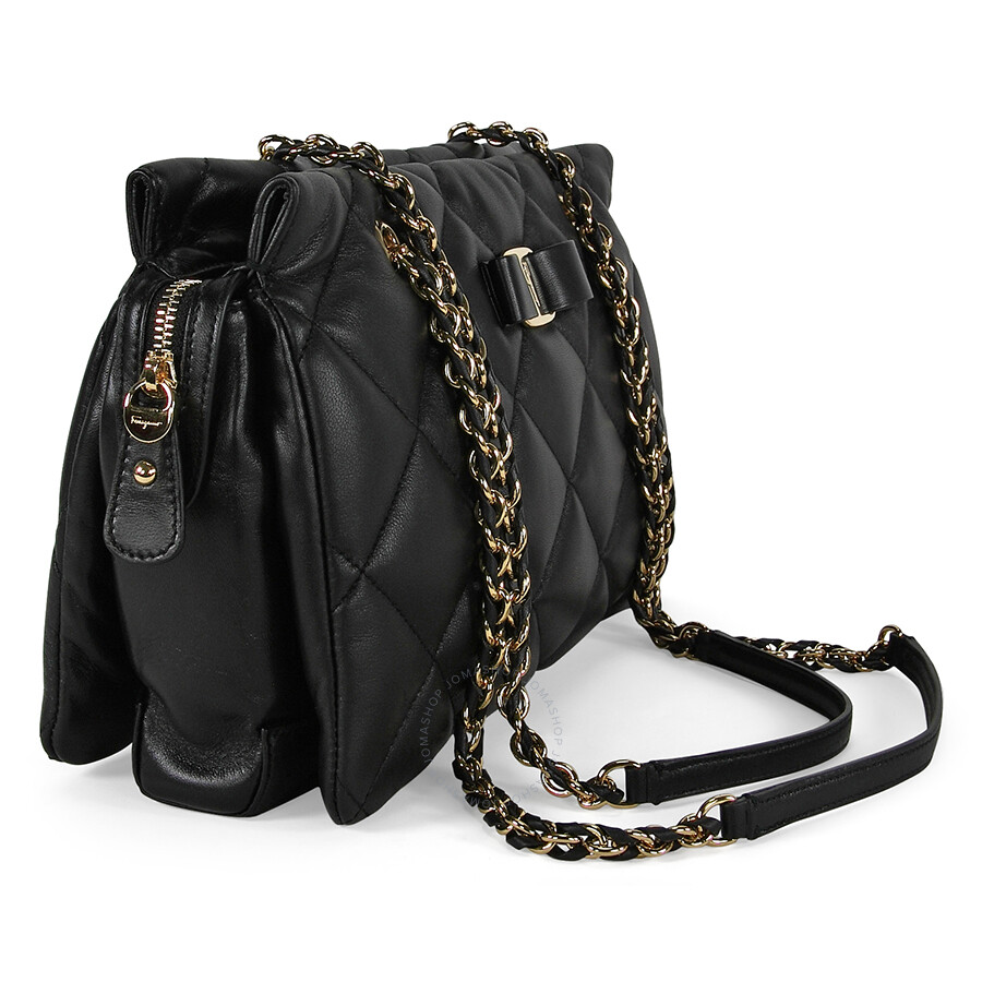 b0fcadea0176 Ferragamo Ginette Quilted Leather Handbag - Black - Salvatore ...