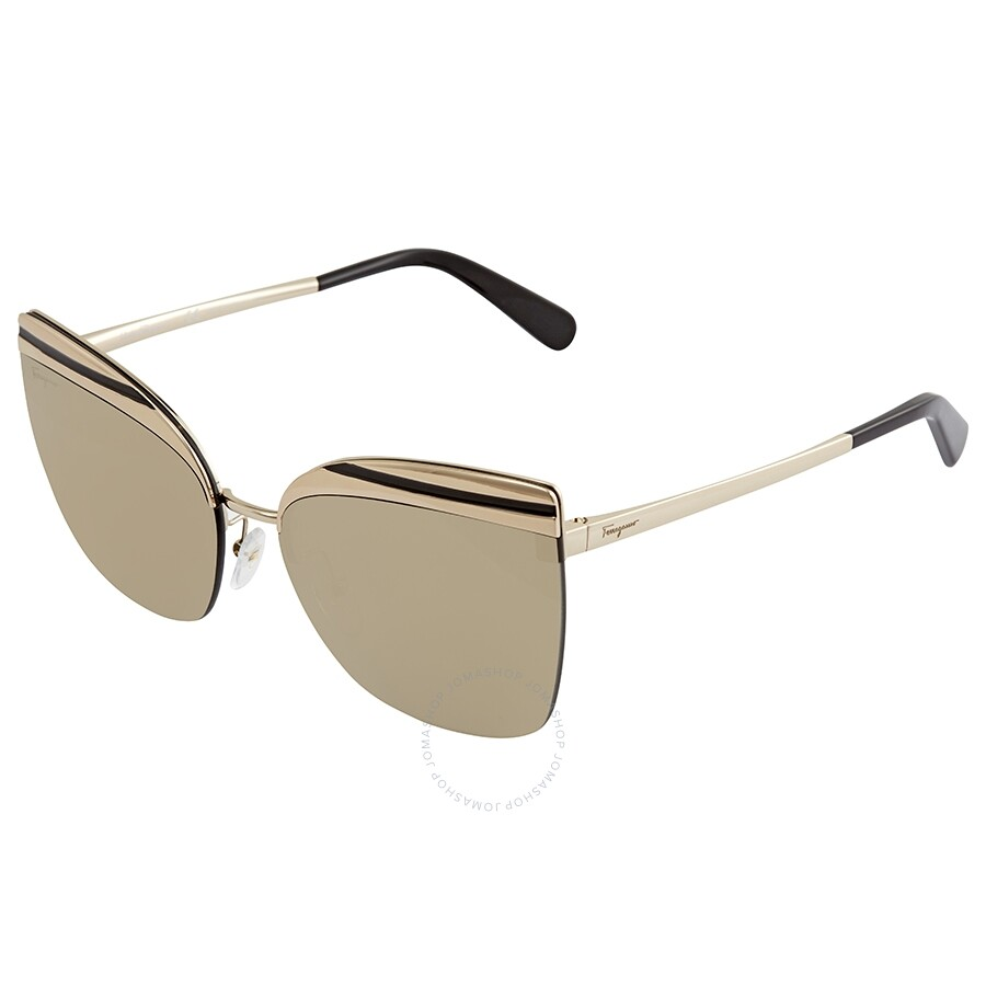 46e17f0023e9d Ferragamo Gold Rectangular Ladies Sunglasses SF166S 717 60 ...