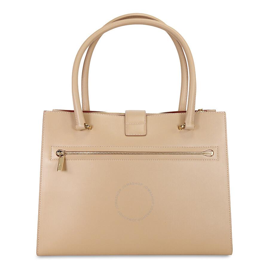 05d6b0fe6193 Ferragamo Marlene Black Leather Handbag - Bisque Item No. 21-D552BIS