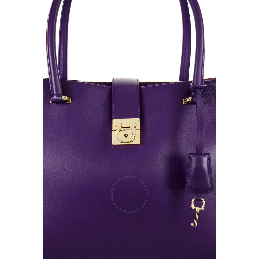 Ferragamo Marlene Black Leather Handbag - Purple - Salvatore ... 06a62b2e70