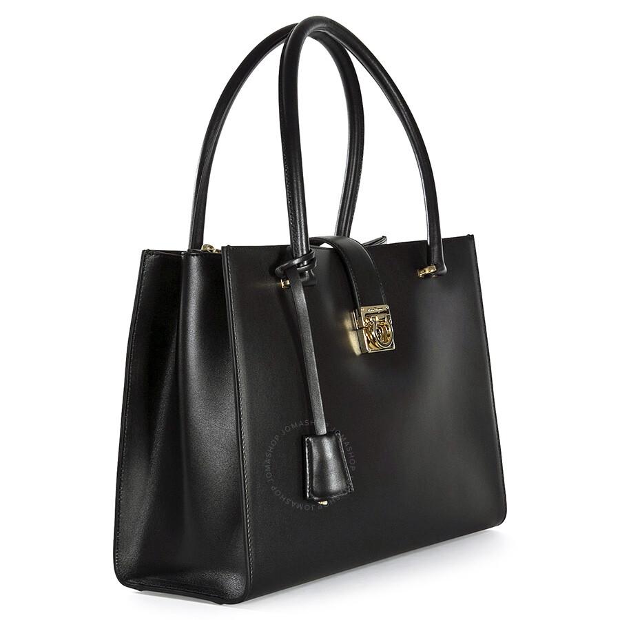 7931e2034c46 Ferragamo Marlene Black Leather Handbag - Black - Salvatore ...