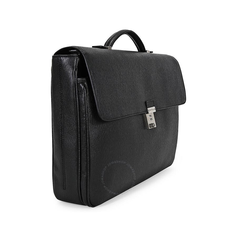 9145eac6d2a3 Ferragamo Revival Calf Black Leather Push Lock Briefcase - Salvatore ...