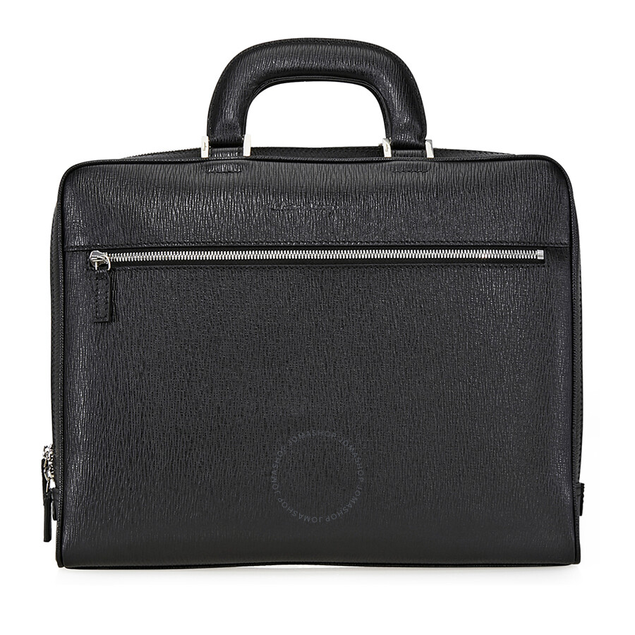 c19ba3a0e978 Ferragamo Revival Laptop Leather Briefcase - Nero Item No. 24-9700