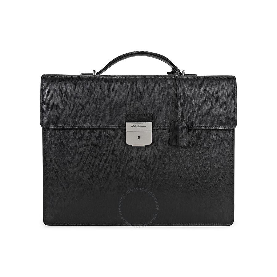 4cc216324431 Ferragamo Revival Leather Briefcase - Black - Salvatore Ferragamo ...