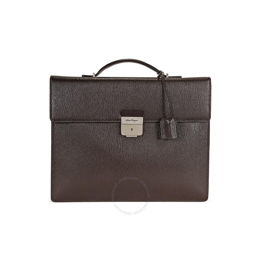 53c93d1961ed Ferragamo Revival Leather Briefcase - Chocolate Brown - Salvatore ...