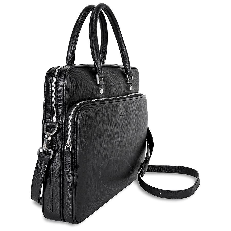 Ferragamo Saffiano Leather Slim Briefcase - Black ...