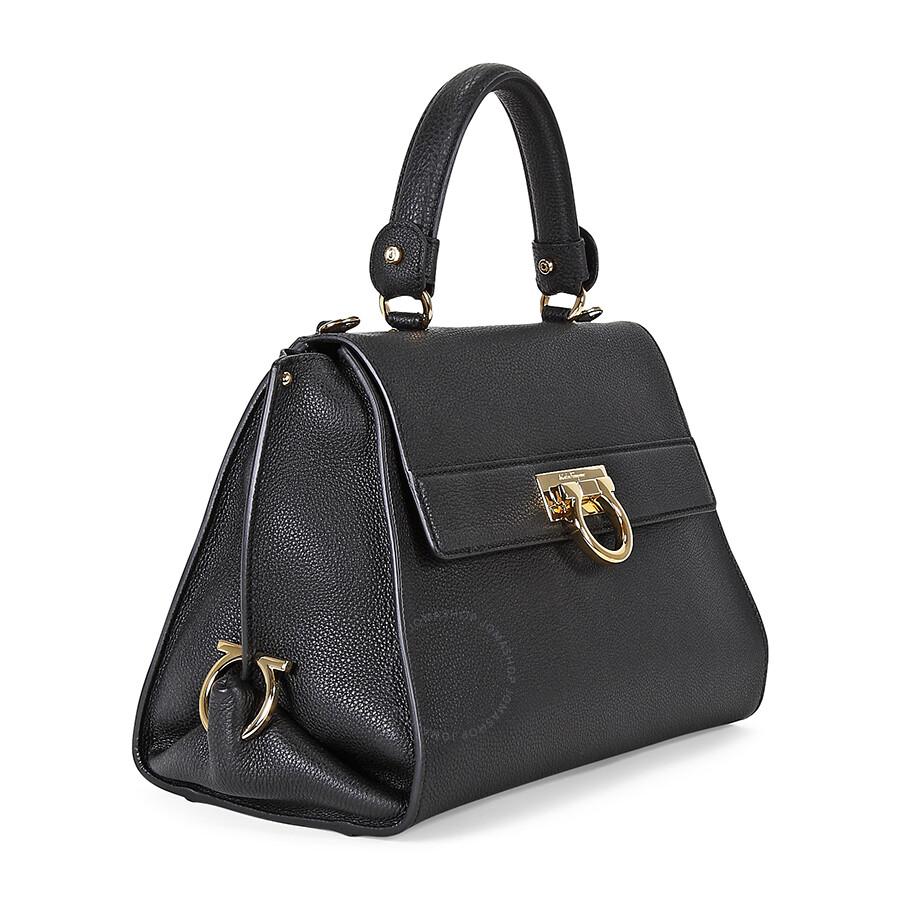 Ferragamo Sofia Black Pebbled Leather Satchel Handbag