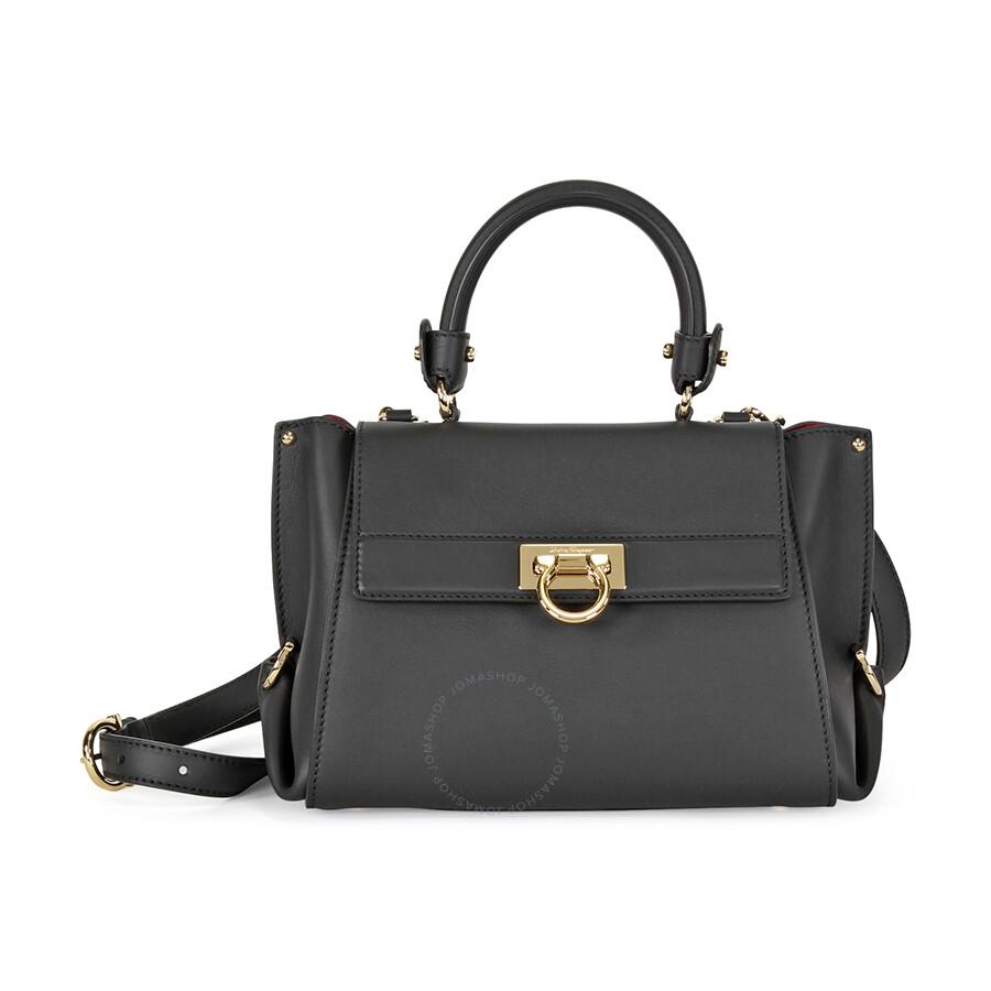 Ferragamo Sofia Leather Shoulder Bag - Black - Salvatore Ferragamo ...