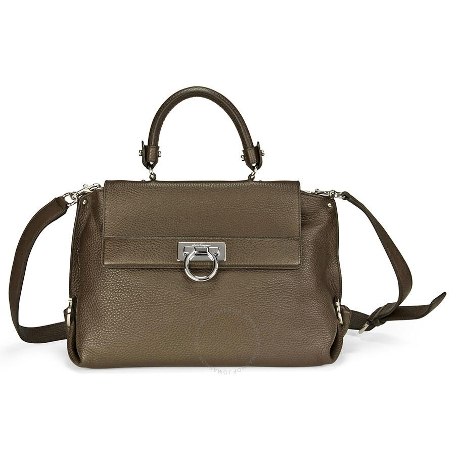678dc46fc1 Ferragamo Sofia Leather Small Shoulder Bag - Dark Brown Item No. 21-A896