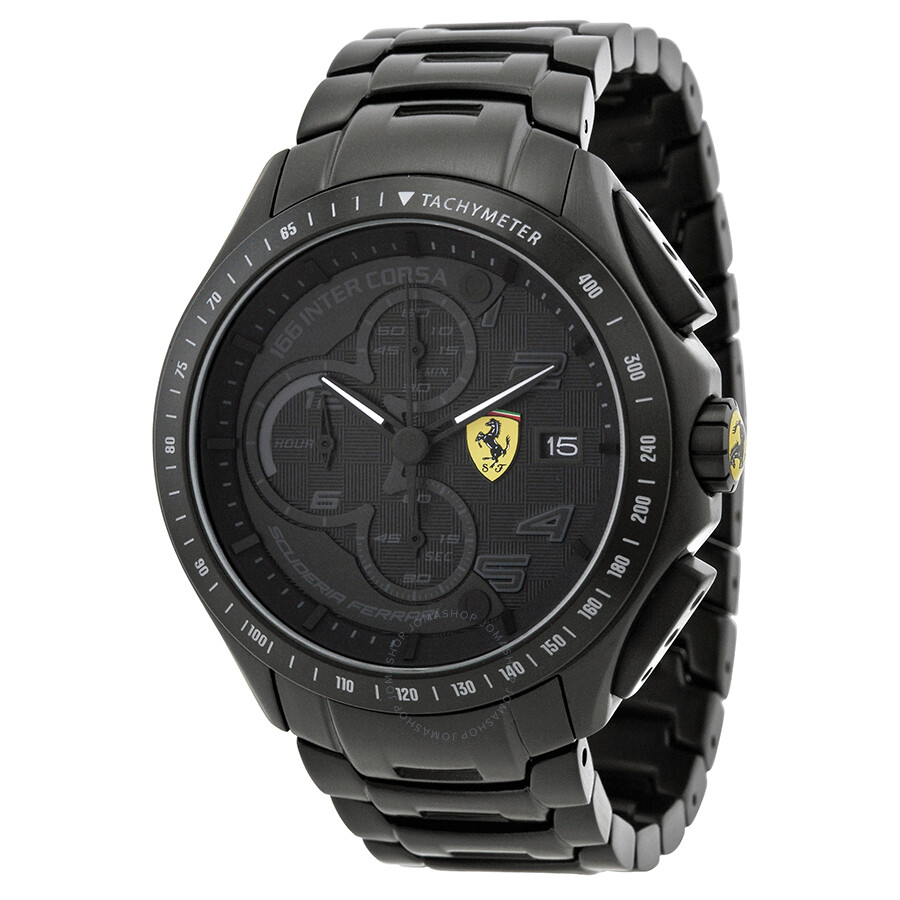 Ferrari race day black dial chronograph black ion plated stainless steel men 39 s watch 830087 for Stainless steel watch