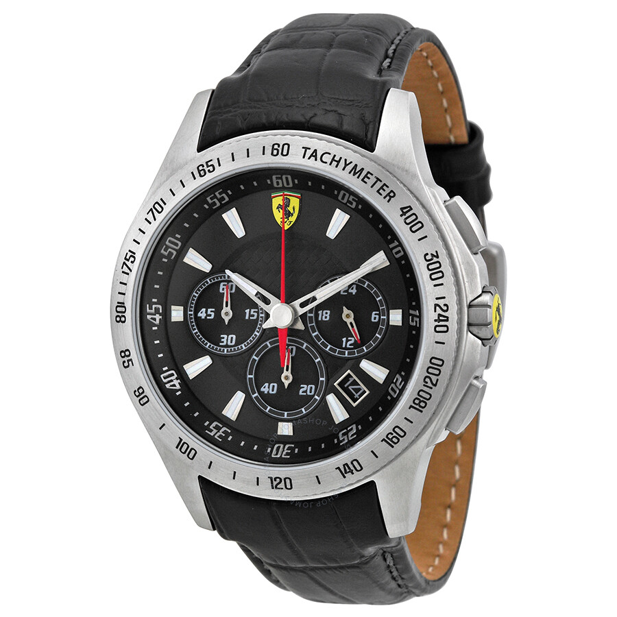 ebay black men strap s chronograph race red mens scuderia watch heritage ferrari itm