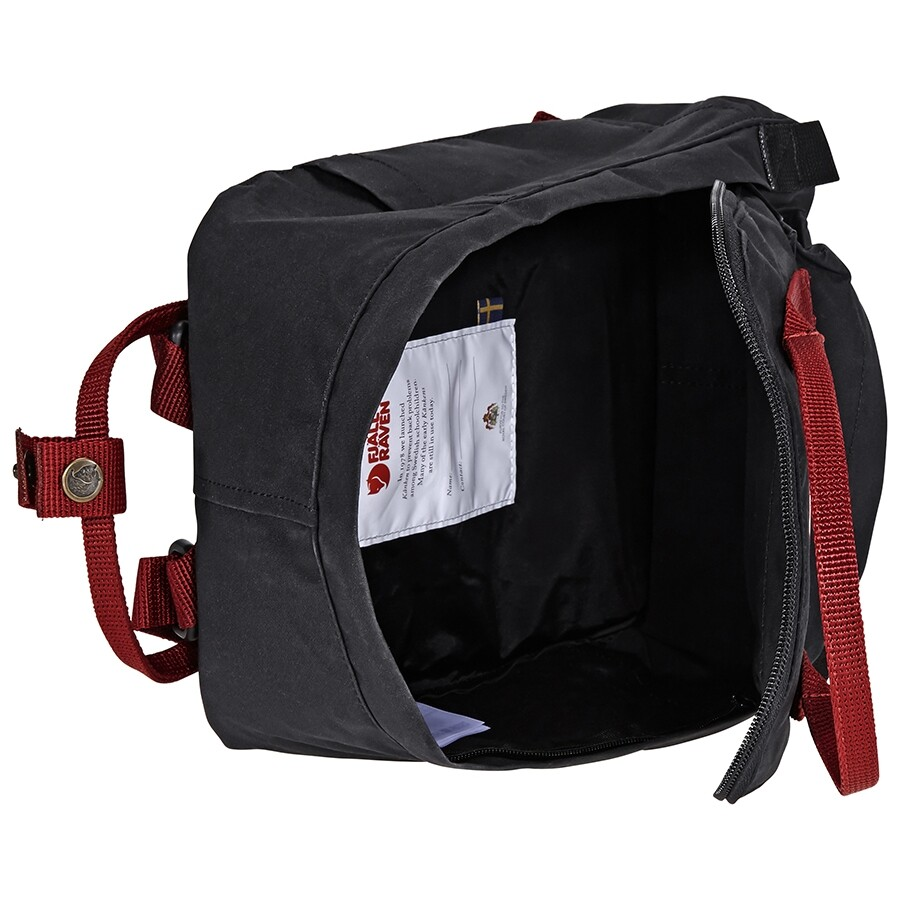 Fjallraven Kanken Mini Kids Backpack- Black-Ox Red