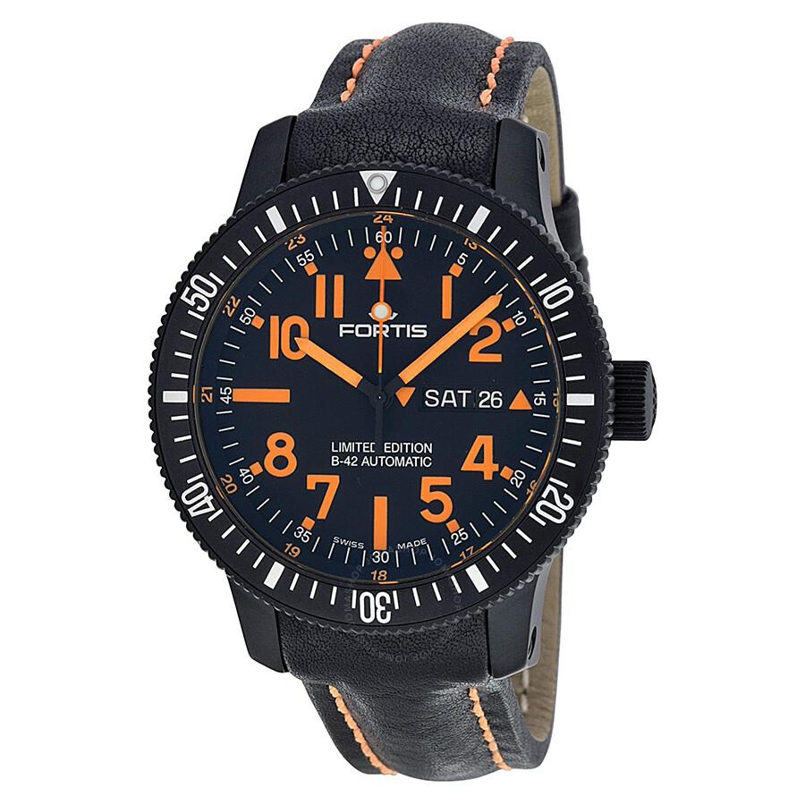 97f6f62f9b925 Fortis B-42 Black Dial Black Mars 500 Leather Men s Watch 6472813L13 Item  No. 647.28.13 L.13
