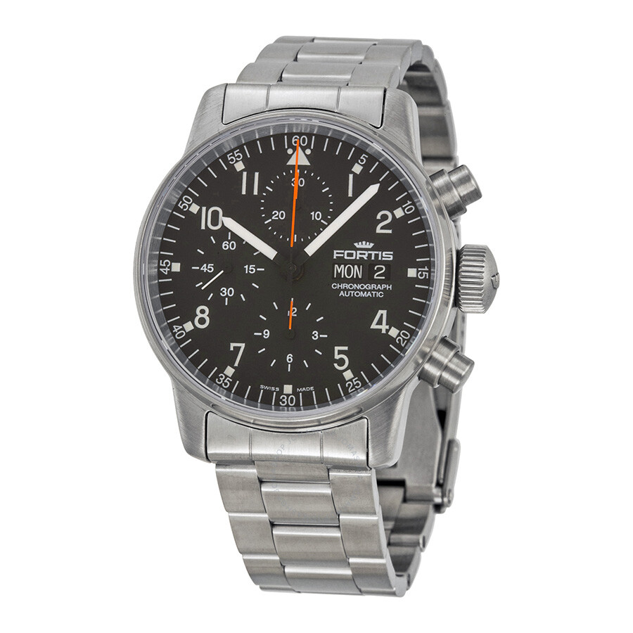 Fortis Pilot Professional Black Dial Chronograph Stainless ...