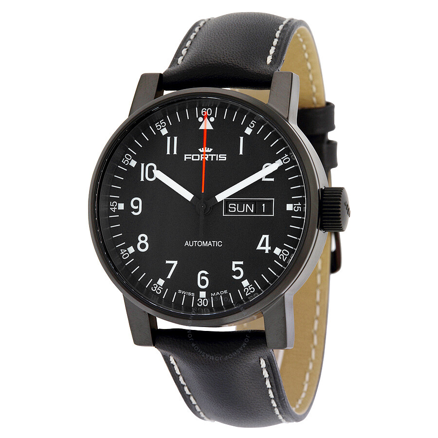 Fortis Spacematic Pilot Black Dial Black Leather Men's ...